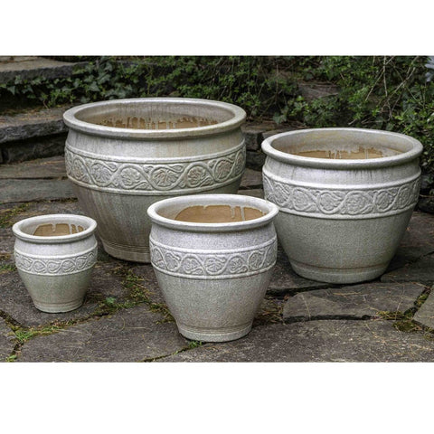 Florian Planter Set of 4 in Antique Pearl - Outdoor Art Pros