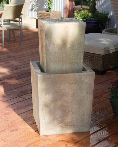 Fountain Squared Garden Water Fountain - Fountains - Outdoor Art Pros