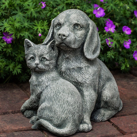 Fur-Ever Friends Cast Stone Garden Statue -Statuary - Outdoor Art Pros
