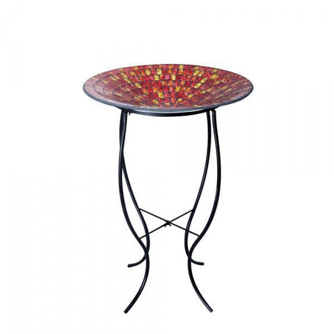 "Alpine 18"" Red And Gold Mosaic Glass Birdbath With Metal Stand"