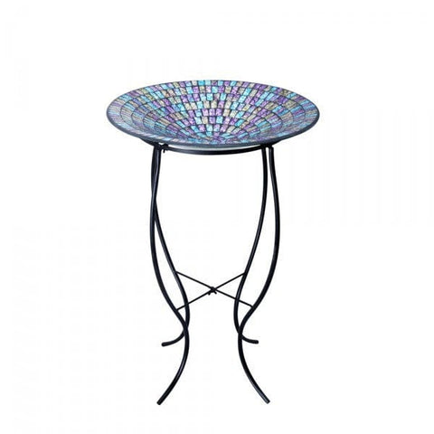 "Alpine 18"" Purple/Blue/Yellow Mosaic Glass Birdbath With Metal Stand"