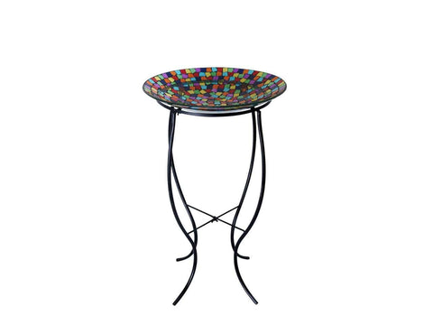 "Alpine 27"" Mosaic Bird Bath With Metal Stand"