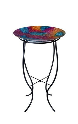 "Alpine 16"" Mosaic Glass Multi Colored Birdbath"