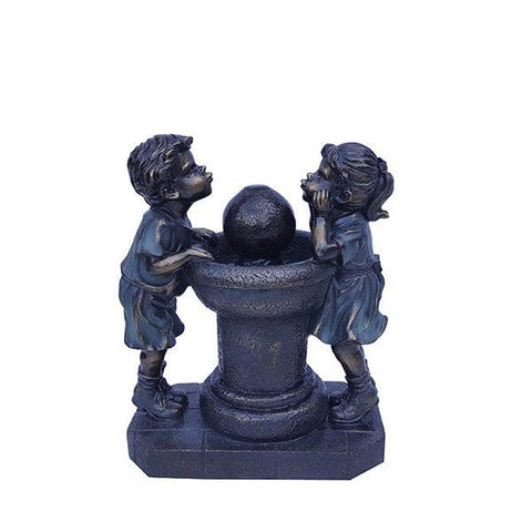 "Alpine 13"" Two Bronze Kids Drinking Water Tabletop Fountain"
