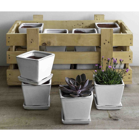 Garden Terrace Small Square White Crate Set of 16 - Outdoor Art Pros