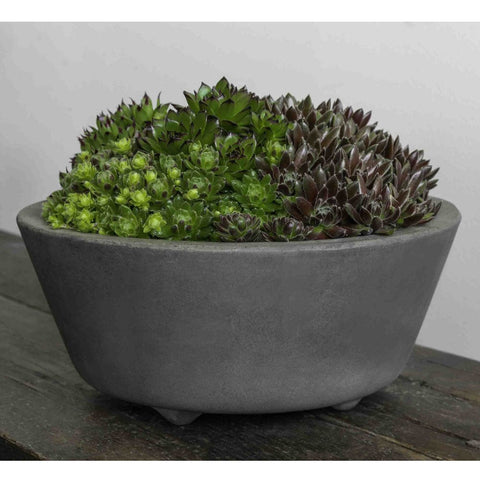 Geo Round Footed Planter Set of 4 in Fiber Cement Finish - Outdoor Art Pros