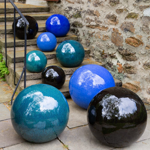 Small Glazed Sphere Garden Accent - Outdoor Art Pros