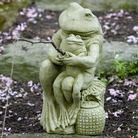 Gone Fishin' Cast Stone Garden Statue -Statuary - Outdoor Art Pros