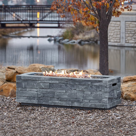 Gray Ledgestone Rectangular Fire Table - Outdoor Art Pros