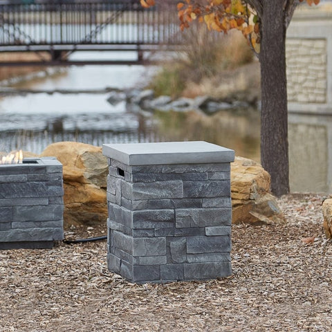 Gray Ledgestone Propane Tank Cover - Outdoor Art Pros