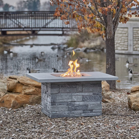 Gray Ledgestone Square Fire Table - Outdoor Art Pros