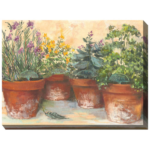Herb Pots Outdoor Canvas Art - Outdoor Art Pros