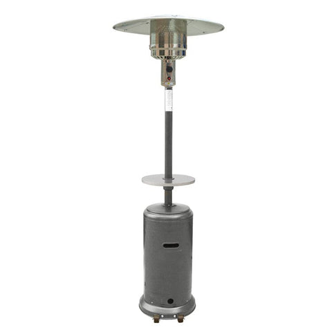 "87"" Tall Hammered Silver Outdoor Patio Heater with Table - Outdoor Art Pros"