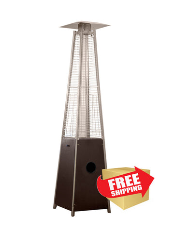 "91"" Tall Radiant Heat Glass Tube Outdoor Patio Heater in Hammered Bronze  - Outdoor Art Pros"