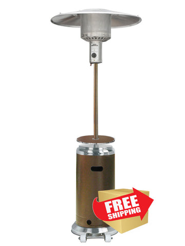 "87"" Hammered Bronze/Stainless Steel Outdoor Patio Heater - Outdoor Art Pros"