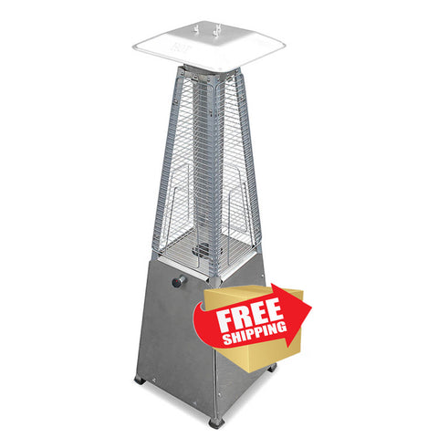 "39"" Radiant Heat Glass Tube Tabletop Patio Heater in Stainless Steel - Outdoor Art Pros"