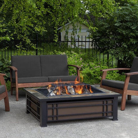 Hamilton Rectangle Wood Burning Fire Pit - Outdoor Art Pros