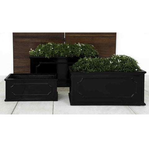 Hampshire Large Window Box Set of 3 in Glossy Black Lite - Outdoor Art Pros