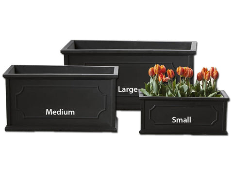 Hampshire Poly Window Box - Set of 3 in Black - Polyethylene Collection - Outdoor Art Pros