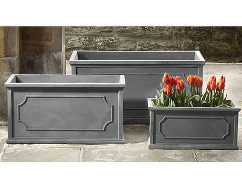 Hampshire Poly Window Box in Lead - Large - Outdoor Art Pros