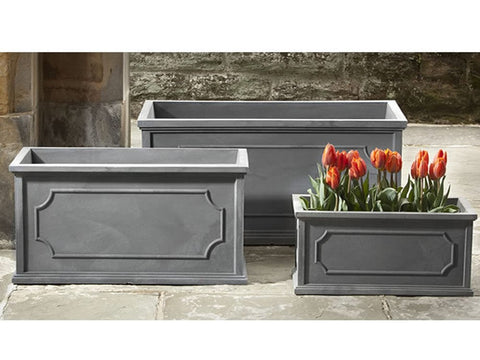 Hamsphire Poly Window Box in Lead - Set of  3 - Polyethylene Collection - Outdoor Art Pros