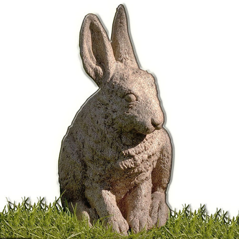 Hare Seated-Ears up Cast Stone Garden Statue - Outdoor Art Pros