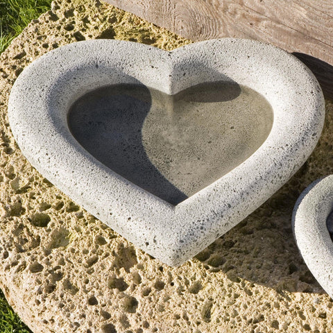 Large Heart Shell Cast Stone Birdbath - Outdoor Art Pros