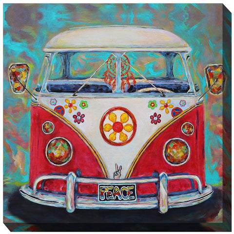 Hippy Van Outdoor Canvas Art - Outdoor Art Pros