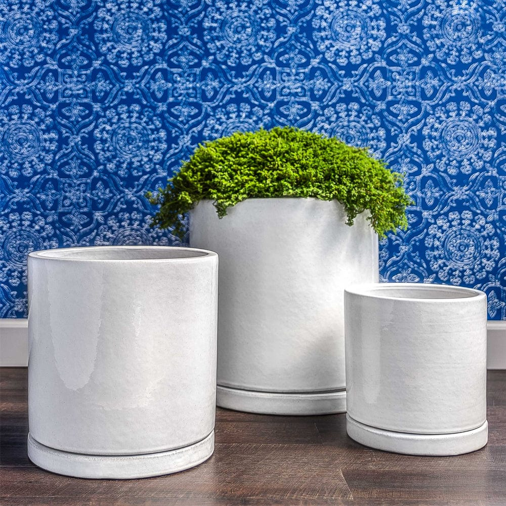 I/O Series Cylinder Planters Set of 3 in White Finish - Outdoor Art Pros