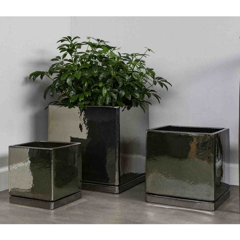 I/O Series Cube Planters - Set of 3 in Metallic - Outdoor Art Pros