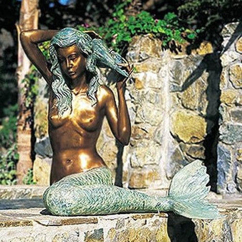 Large Bronze Mermaid Garden Accent and Pool Statuary - Brass Baron - Outdoor Art Pros