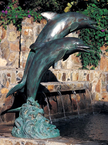 Large Double Dolphins Garden Accent and Pool Statuary - Brass Baron - Outdoor Art Pros