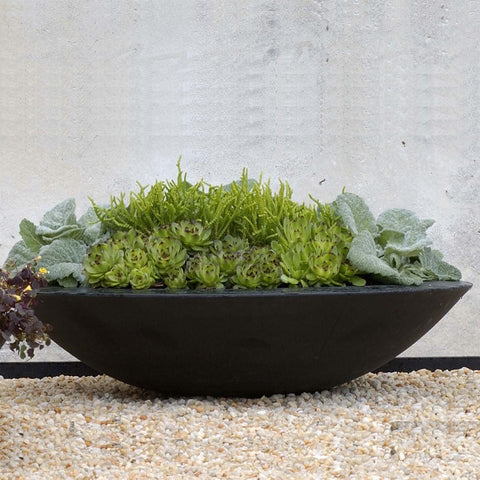 Large Low Zen Bowl in Black - Outdoor Art Pros