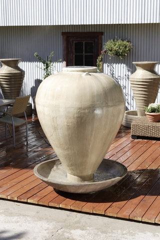 Large Vase With Wok Garden Water Fountain - Fountains - Outdoor Art Pros