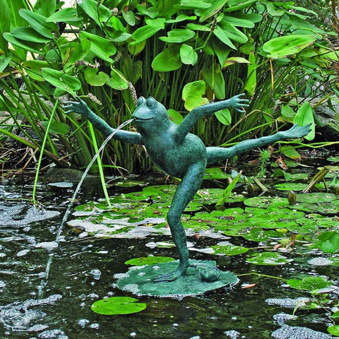 Brass Baron Leaping Frog Garden Accent and Pool Statuary - Brass Baron - Outdoor Art Pros