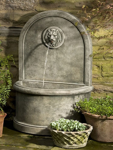 Lion Wall Outdoor Water Fountain - Outdoor Art Pros