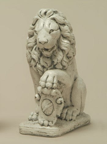 Lion with Left Paw on Shield Garden Statue - Statuary - Outdoor Art Pros
