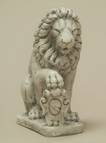 Lion with Right Paw on Shield Garden Statue - Statuary - Outdoor Art Pros