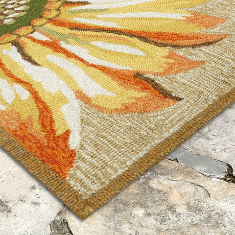 Liora Manne Frontporch Sunflower Yellow Area Rug - Outdoor Art Pros