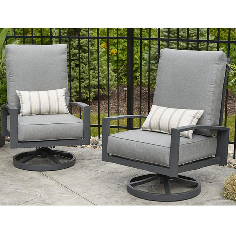 Lyndale Highback Swivel Rocking Chairs Set of 2 in Cast Slate - Outdoor Art Pros