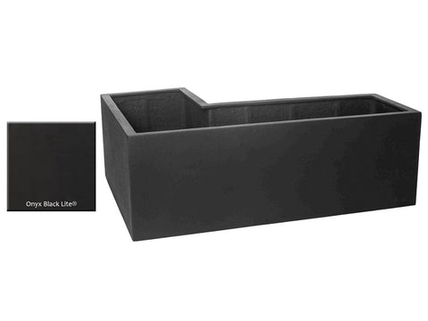 ML L-Left Planter Container 5318 in Onyx Black Lite® - Outdoor Art Pros