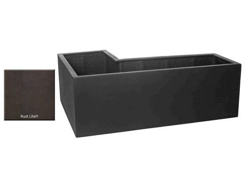 ML L-Left Planter Container 5318 in Rust Lite® - Outdoor Art Pros