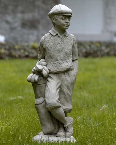Male Golfer Cast Stone Garden Statue - Outdoor Art Pros