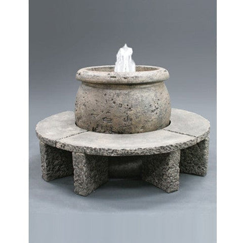 Mall Cast Stone Fountain with Granite Benches - Outdoor Art Pros