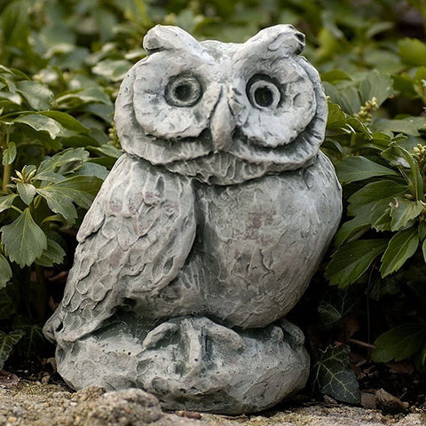 Merrie Little Owl Cast Stone Garden Statue - Outdoor Art Pros