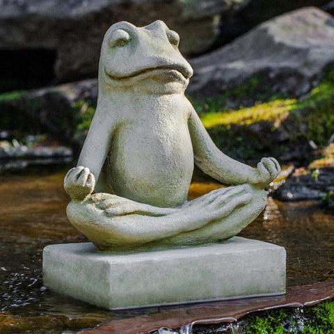 Mini Zen Frog Cast Stone Garden Statue - Outdoor Art Pros