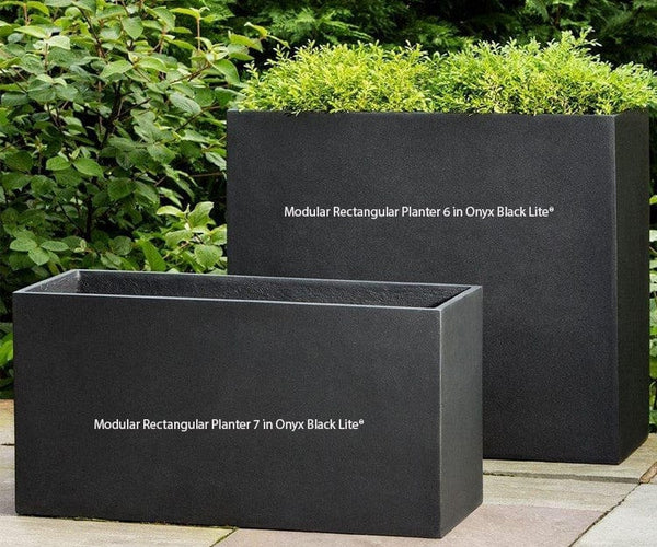 Modular Rectangular Planter 7 In Onyx Black Lite 174