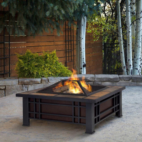 Morrison Wood Burning Fire Pit with Natural Slate Top - Outdoor Art Pros