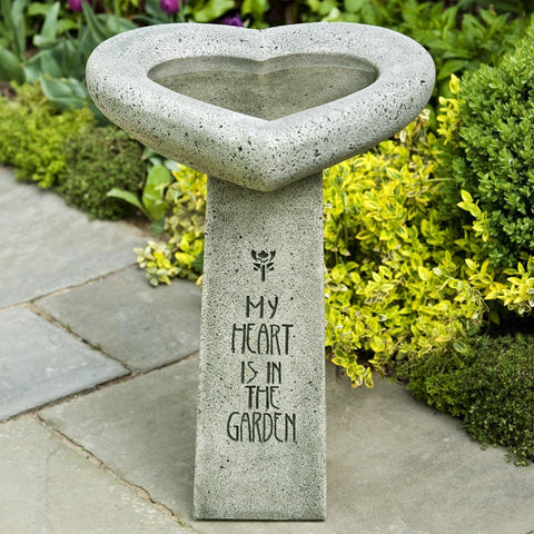 My Heart is in the Garden Cast Stone Birdbath - Outdoor Art Pros