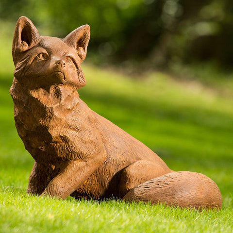 Noble Fox Cast Stone Garden Statue - Outdoor Art Pros